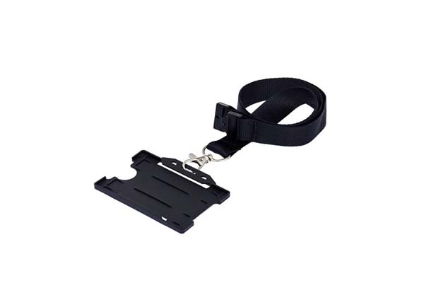 Black Landscape Double ID Card Holder On A Lanyard (Not Included)