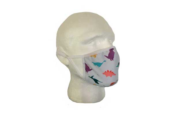 Green Dinosaur Cloth Face Mask - Side View