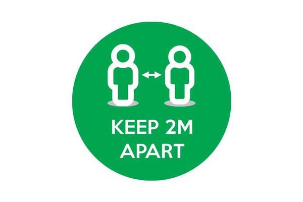 Green Keep 2m Apart Social Distancing Floor Sticker