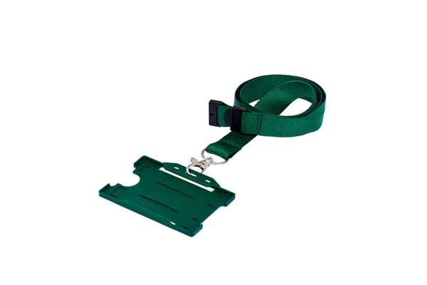 Green Landscape Double ID Card Holder On A Lanyard (Not Included)