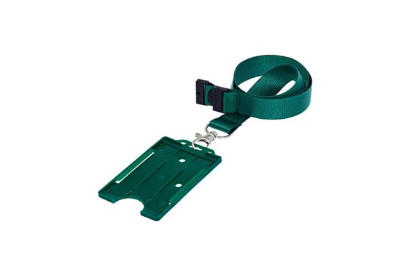 Green Portrait Double ID Card Holder On A Lanyard (Not Included)