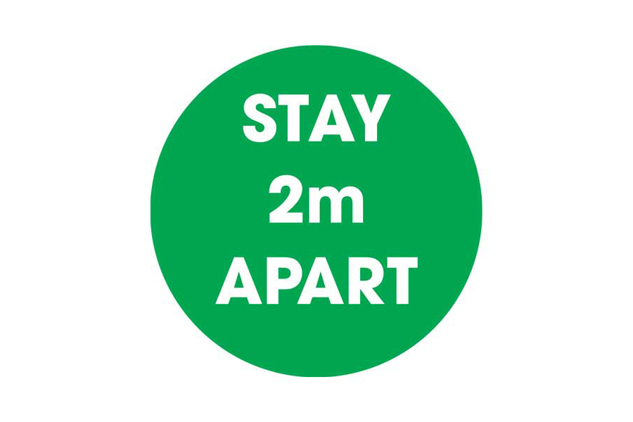 Green Stay 2m Apart Social Distancing Floor Sticker