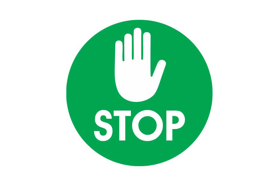 Green Stop Social Distancing Floor Sticker