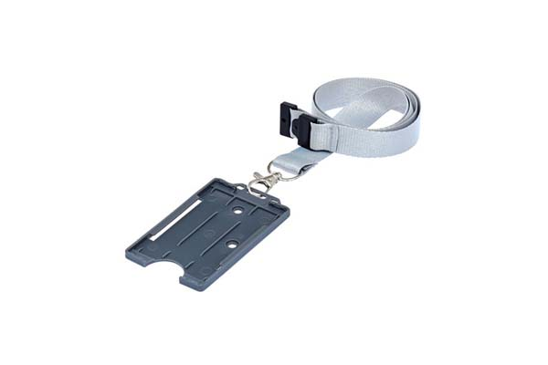 Grey Portrait ID Card Holder on a Lanyard (not included)