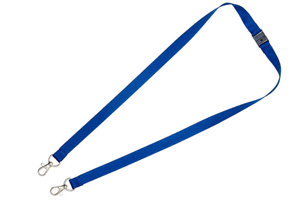 Navy Blue Double Clip Lanyard