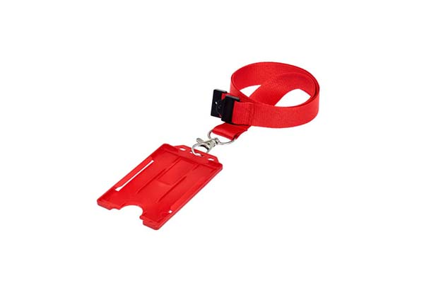 Red Portrait Double ID Card Holder On A Lanyard (Not Included)