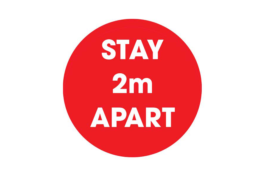 Red Stay 2m Apart Social Distancing Floor Sticker