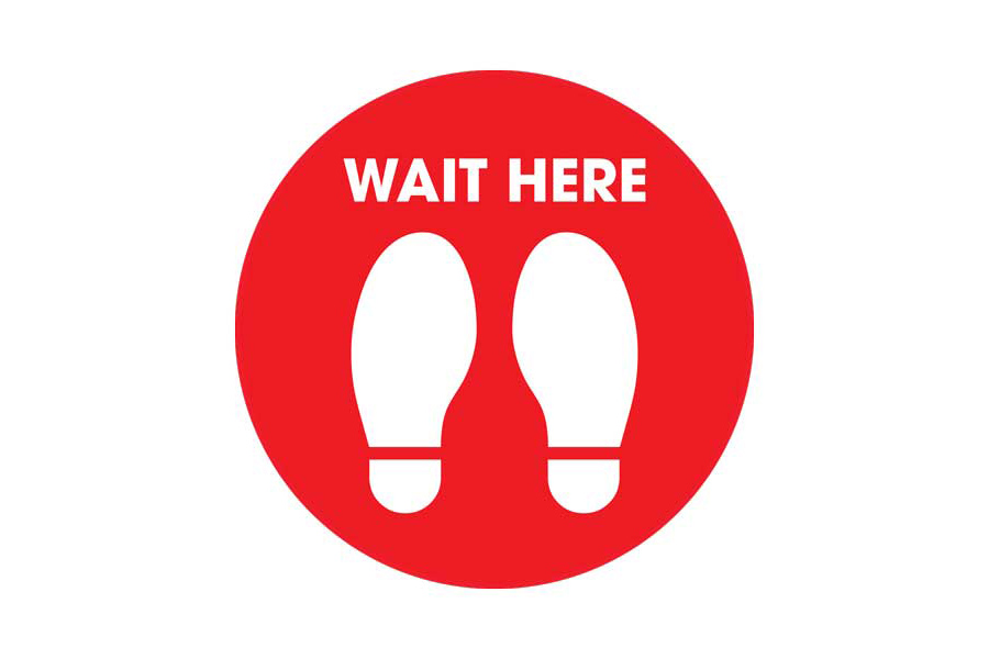 Red Wait Social Distancing Floor Sticker