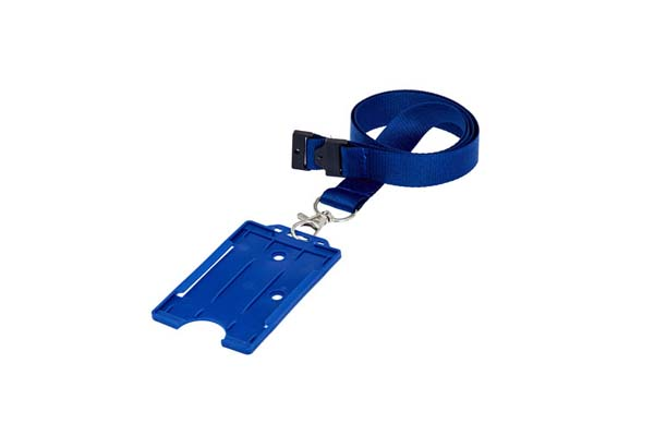 Royal Blue Portrait Double ID Card Holder On A Lanyard (Not Included)