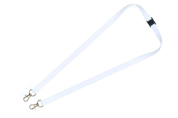 White Double Clip Lanyard