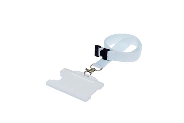 White Landscape Double ID Card Holder On A Lanyard (Not Included)