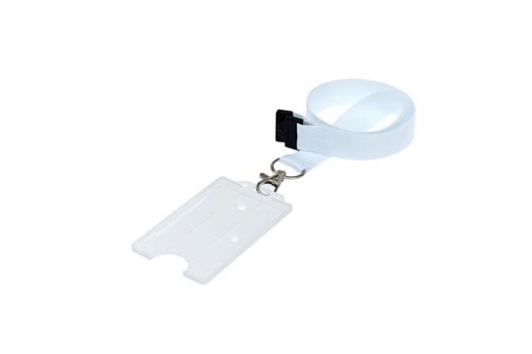 White Portrait Double ID Card Holder On A Lanyard (Not Included)
