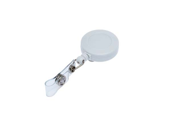 White Retractable Ski Reel/Badge Reel