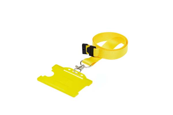 Yellow Landscape Double ID Card Holder On A Lanyard (Not Included)