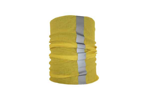 Yellow Reflective Neck Tube Bandana - Detail Showing Hi Vis Strip